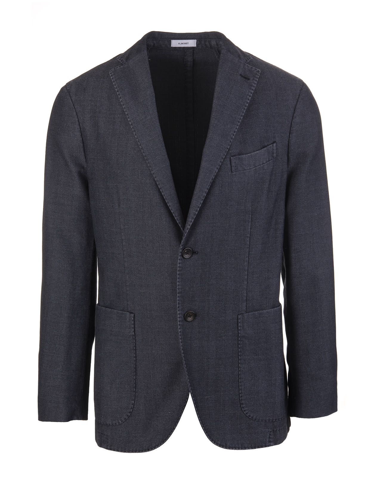 Herringbone Cotton Dark Blue Man Jacket