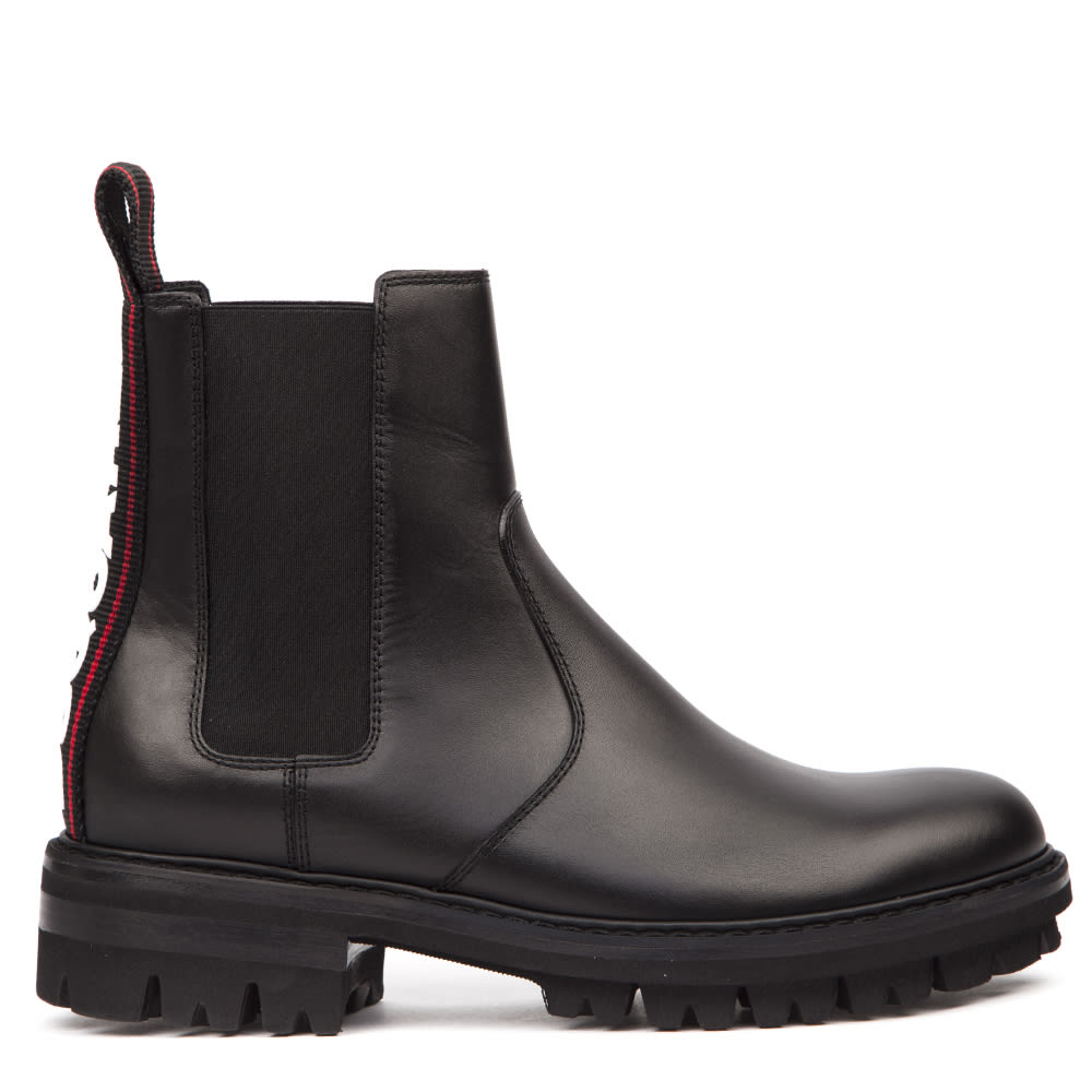 Dsquared2 Black Leather Chelsea Ankle Boots With Logo Print