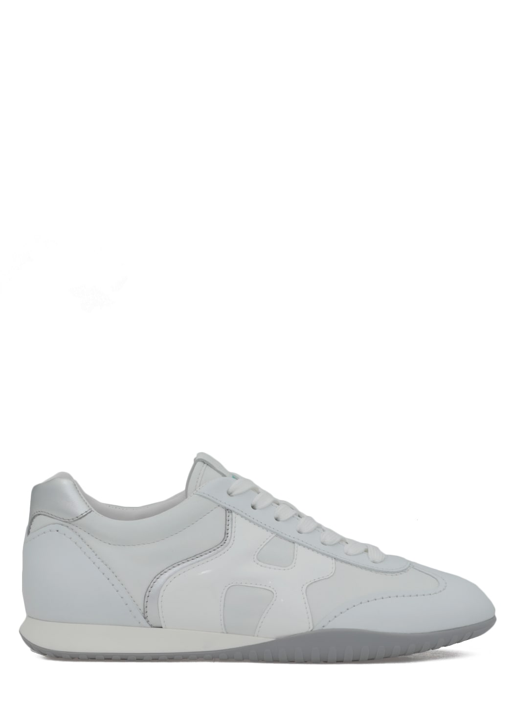 Shop Hogan Smooth Leather Sneaker In Bianco argento