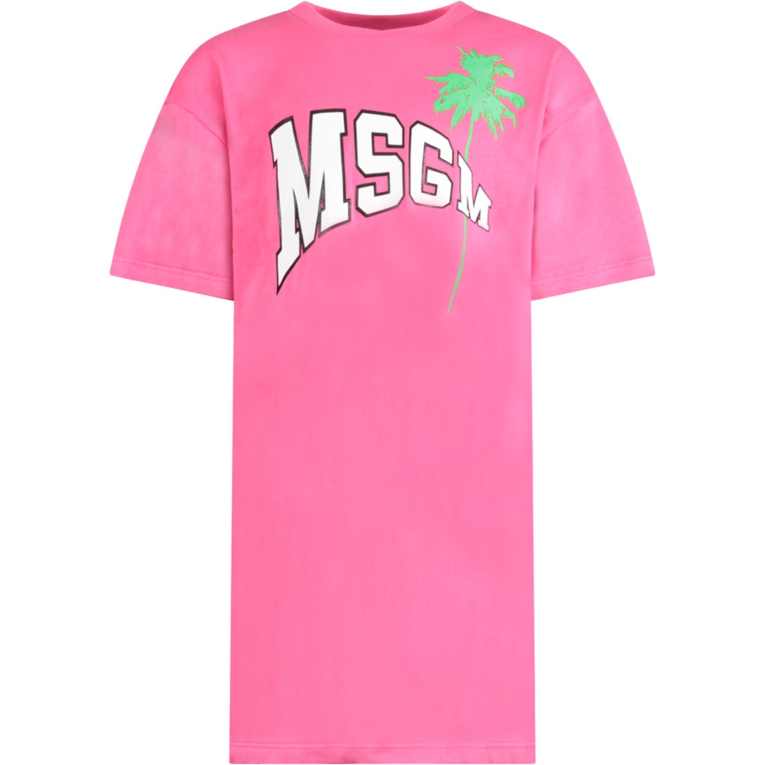 Buy MSGM Fuchsia Dress With Logo And Palm For Girl online, shop MSGM with free shipping