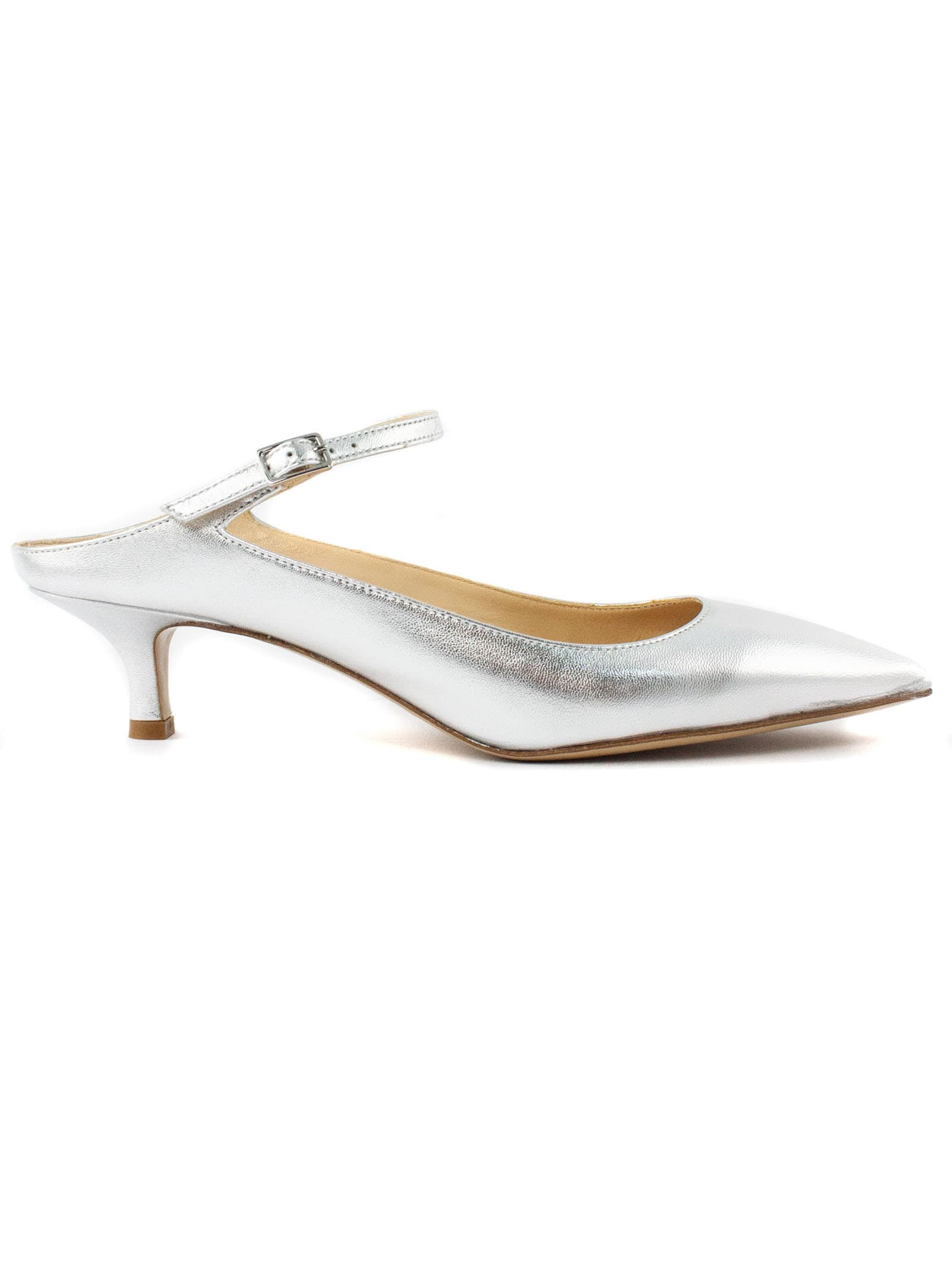 Silver Metallic Leather Pumps
