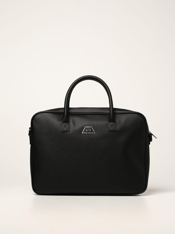 Armani Exchange Shoulder Bag Armani Exchange Briefcase In Saffiano Synthetic Leather