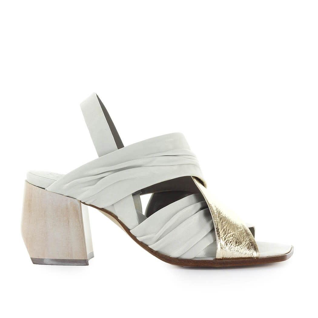 White Gold Heeled Sandal