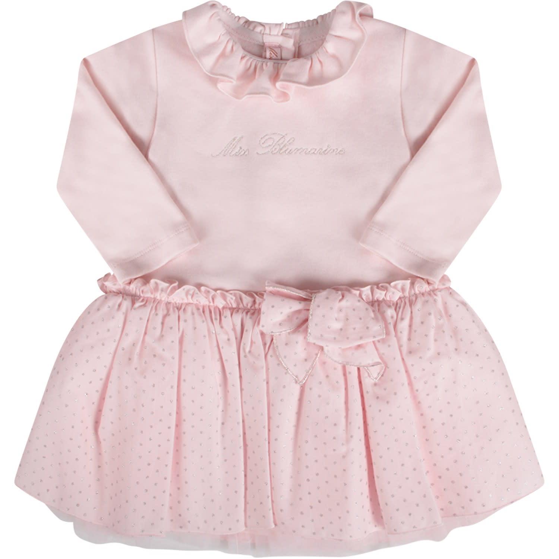 Blumarine Pink Babygirl Dress Silver Logo