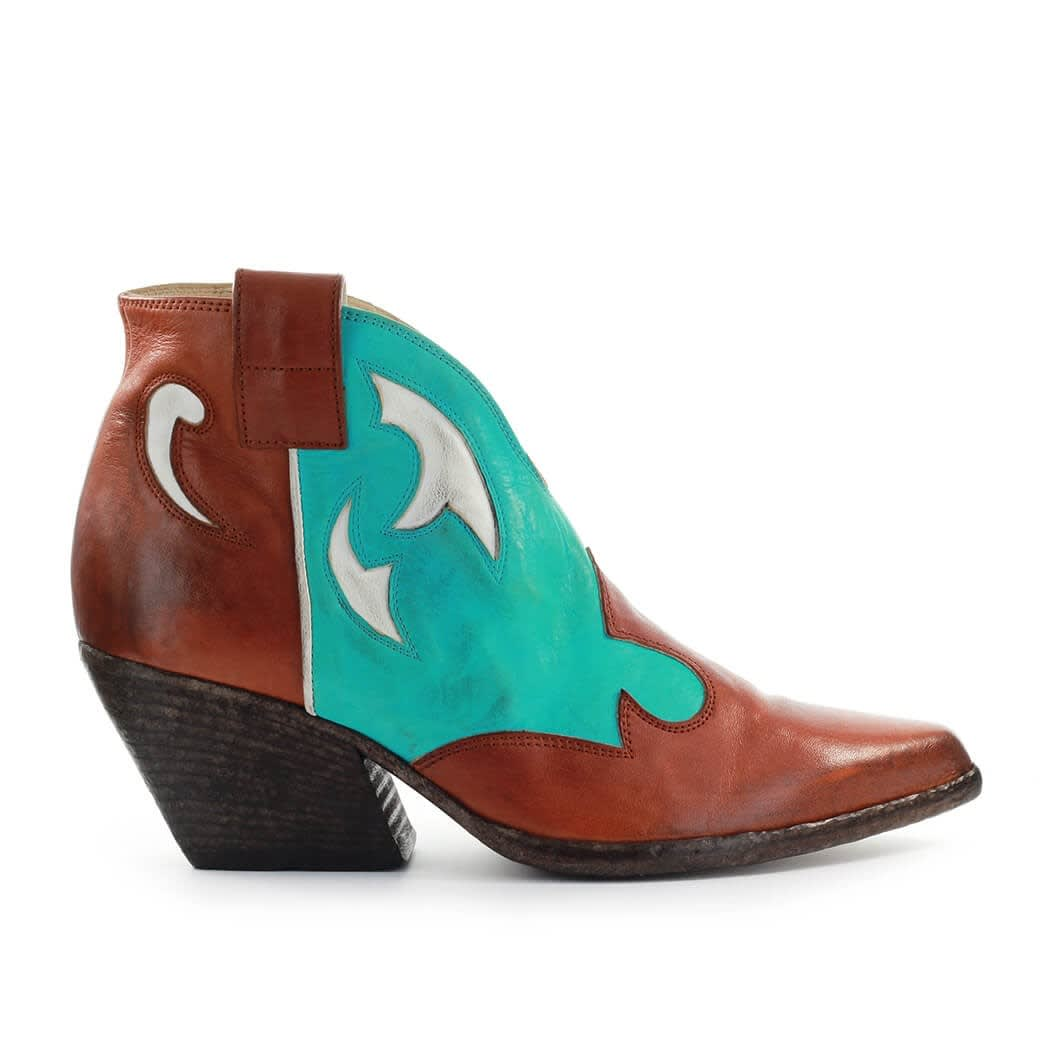 Leather Turquoise Texan Style Bootie