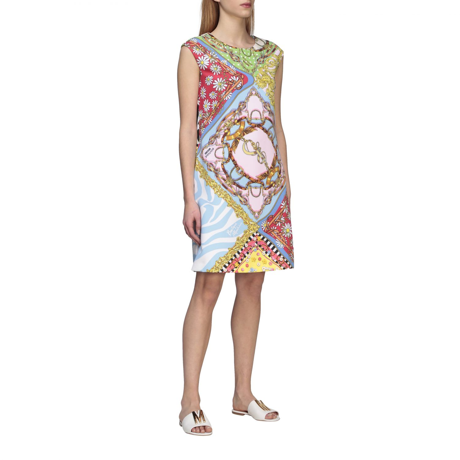 Buy Boutique Moschino Dress Boutique Moschino Dress With Mix Of Prints online, shop Boutique Moschino with free shipping