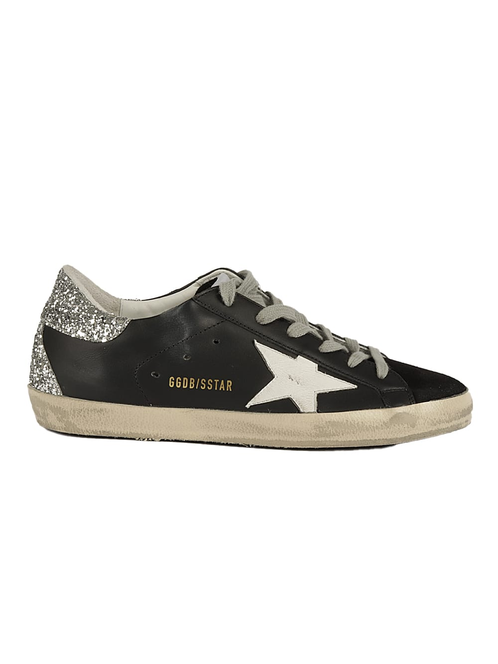 Buy Golden Goose Superstar Leather Upper And Star Suede Toe Glitter online, shop Golden Goose shoes with free shipping