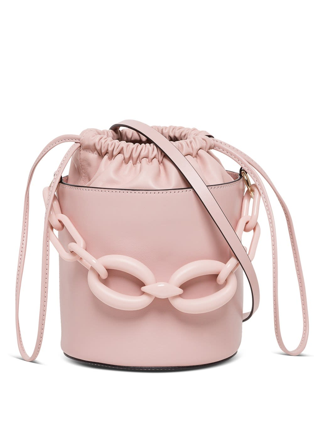 Red Valentino PINK LEATHER BUCKET BAG WITH RESIN CHAINI DETAIL