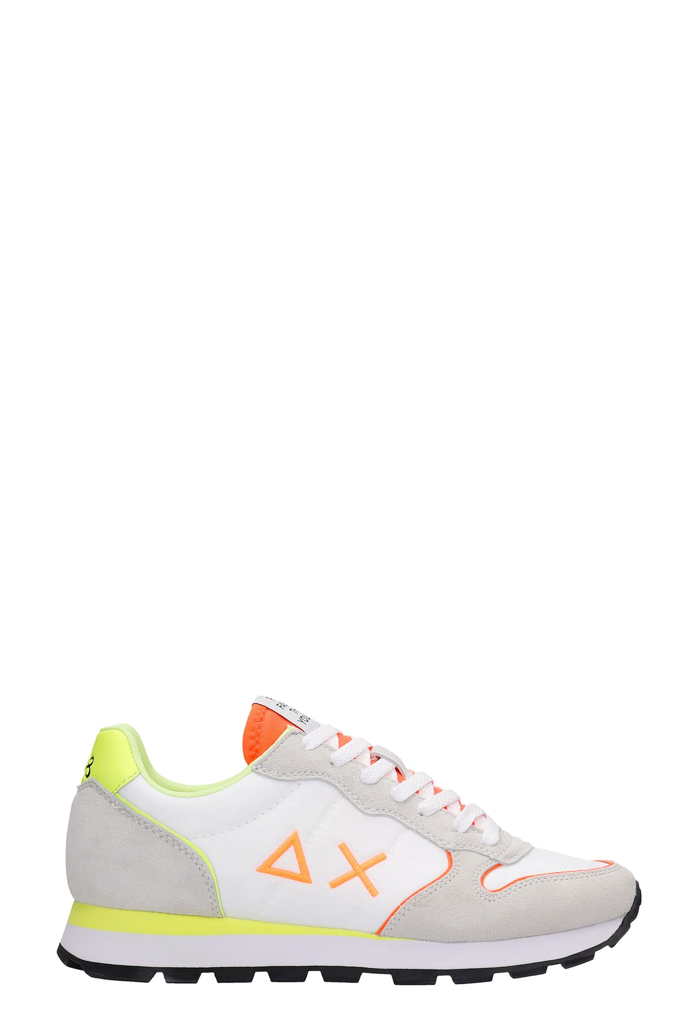 Sun 68 Suedes TOM FLUO SNEAKERS IN WHITE SUEDE AND FABRIC