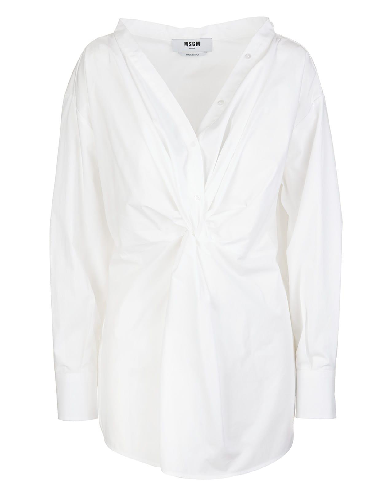 Msgm Cottons WHITE COTTON KNOT-DETAIL V-NECK BLOUSE