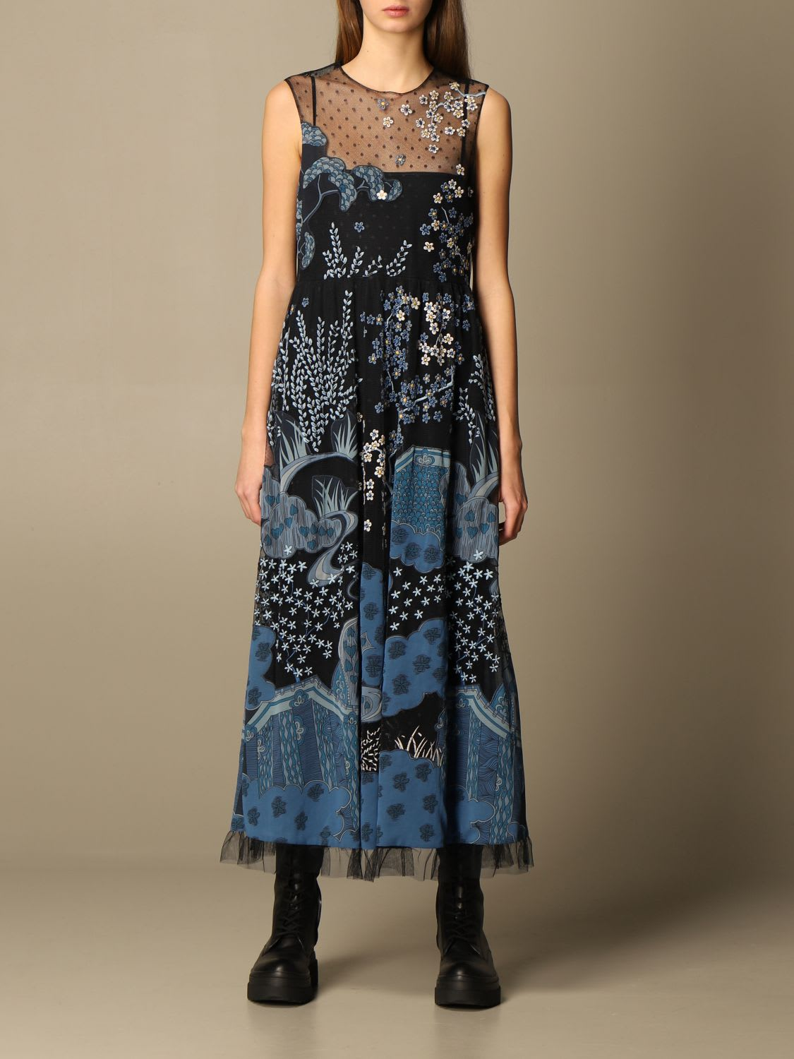 Red Valentino Dress Red Valentino Long Dress With Embroidery And Floral Patterns