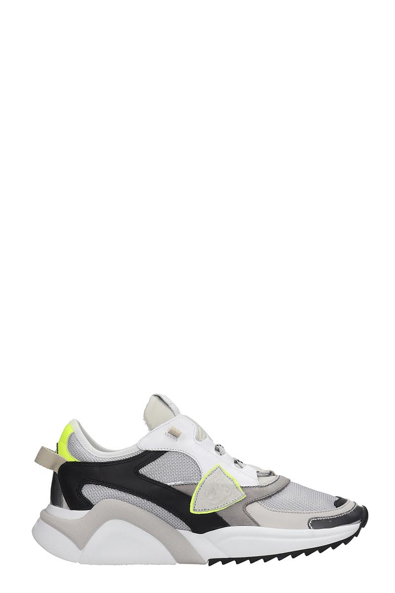 Philippe Model Eze Sneakers In White Leather And Fabric