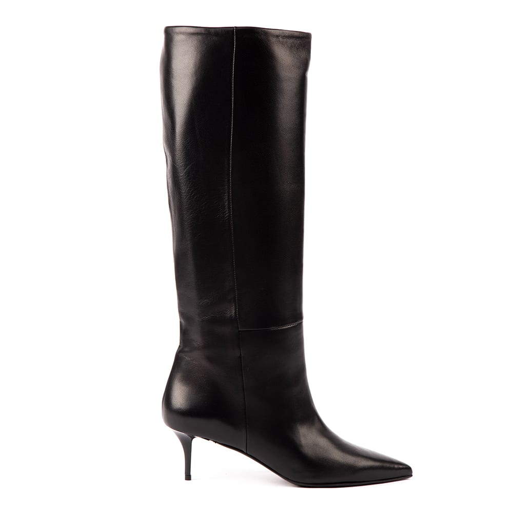 Black Glossy Leather Boots
