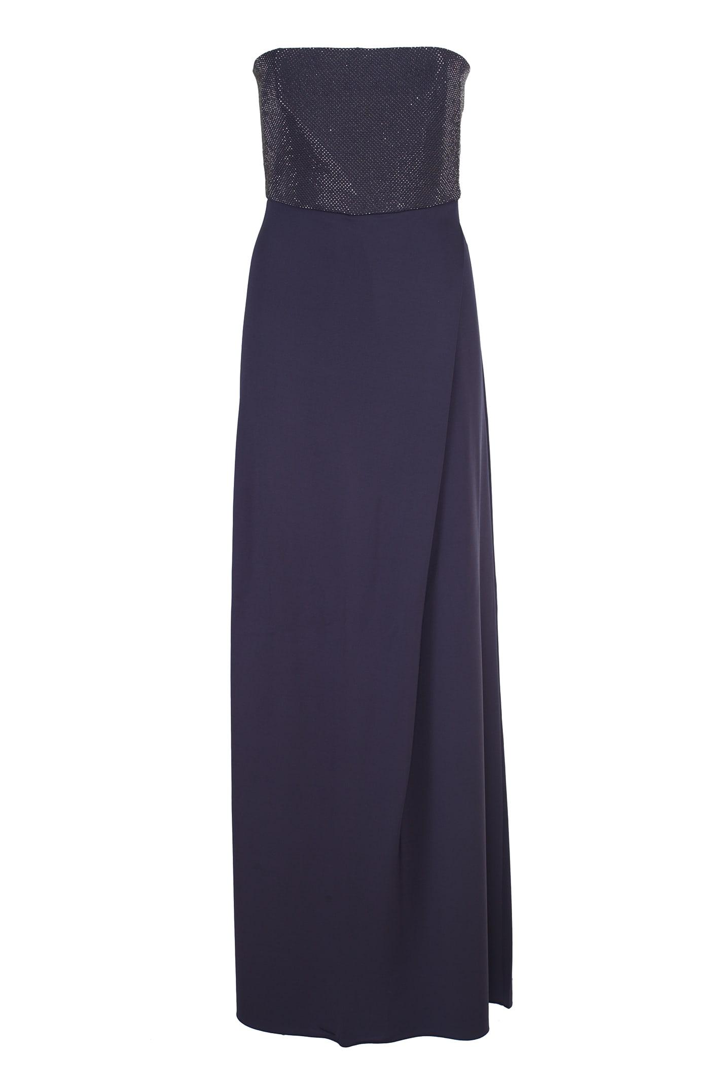 Buy Emporio Armani Long Crepe Dress online, shop Emporio Armani with free shipping