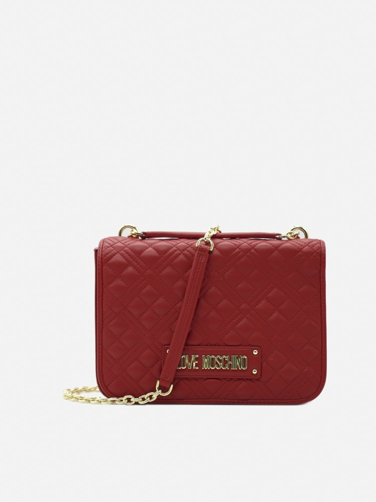 Love Moschino Quilted-effect Bag With Contrasting Logo Lettering In Red