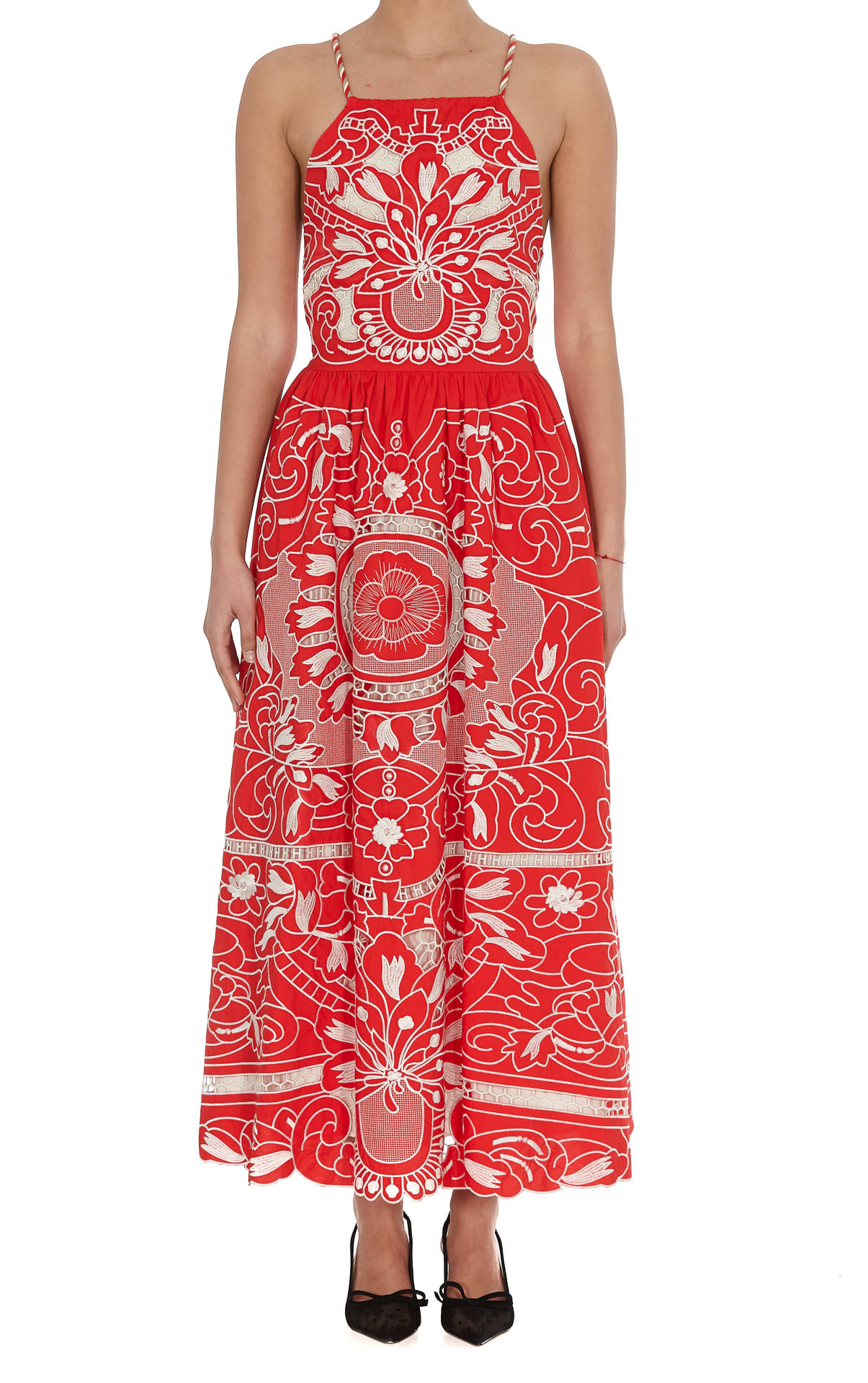 Buy Red Valentino Embroidered Popeline Dress online, shop RED Valentino with free shipping