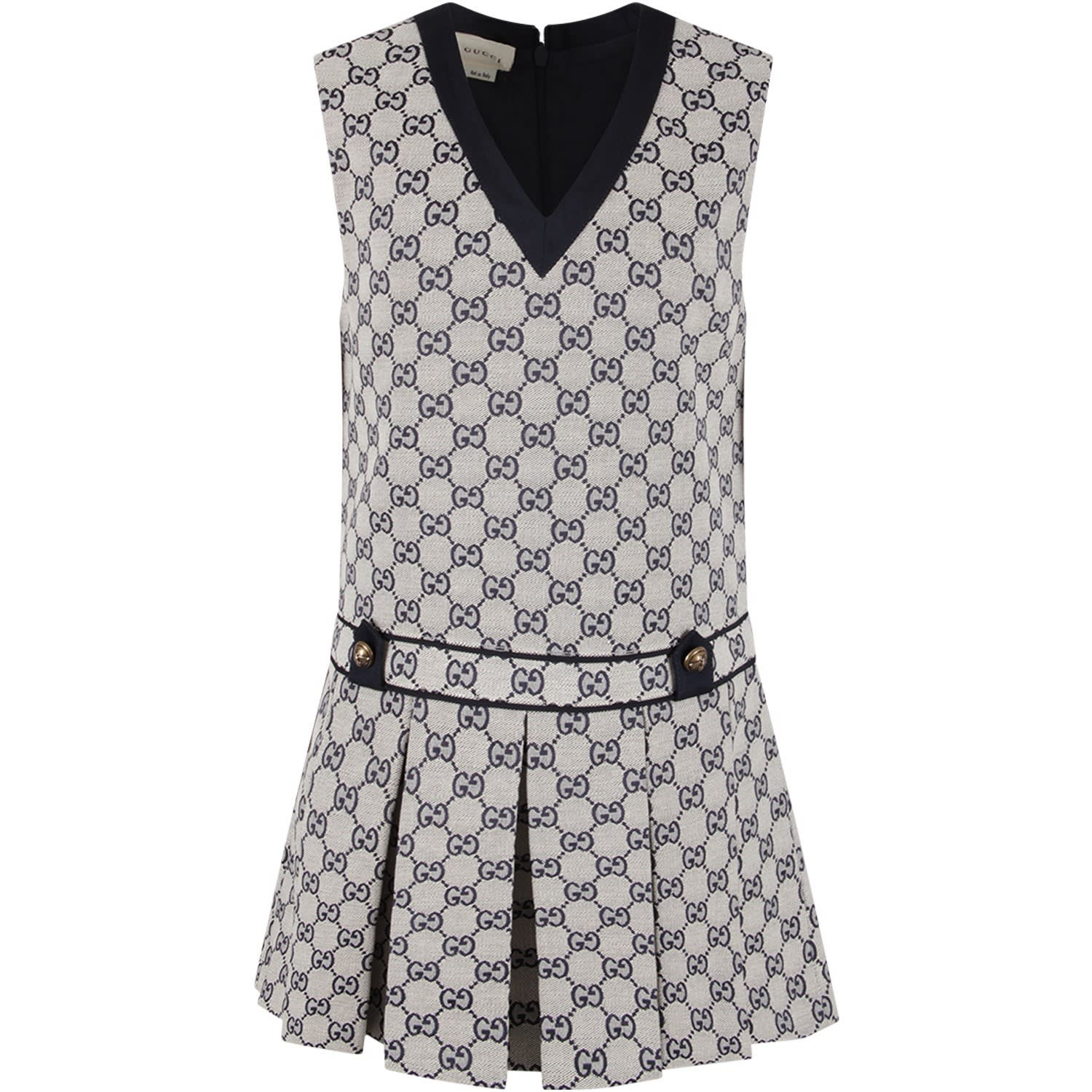Gucci Grey Girl Dress With Blue Double Gg