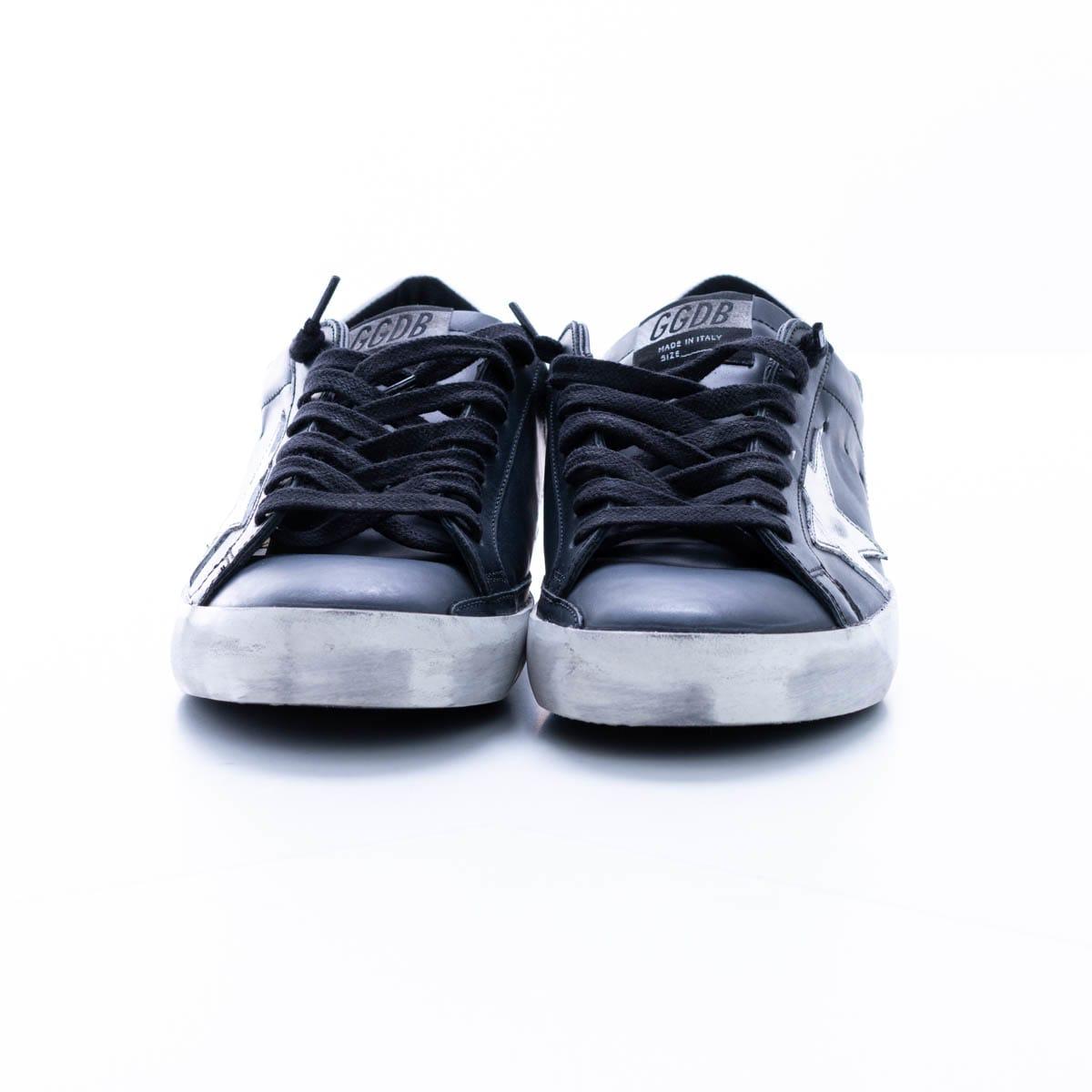 Golden Goose Super-star Leather Sneaker In Black - White