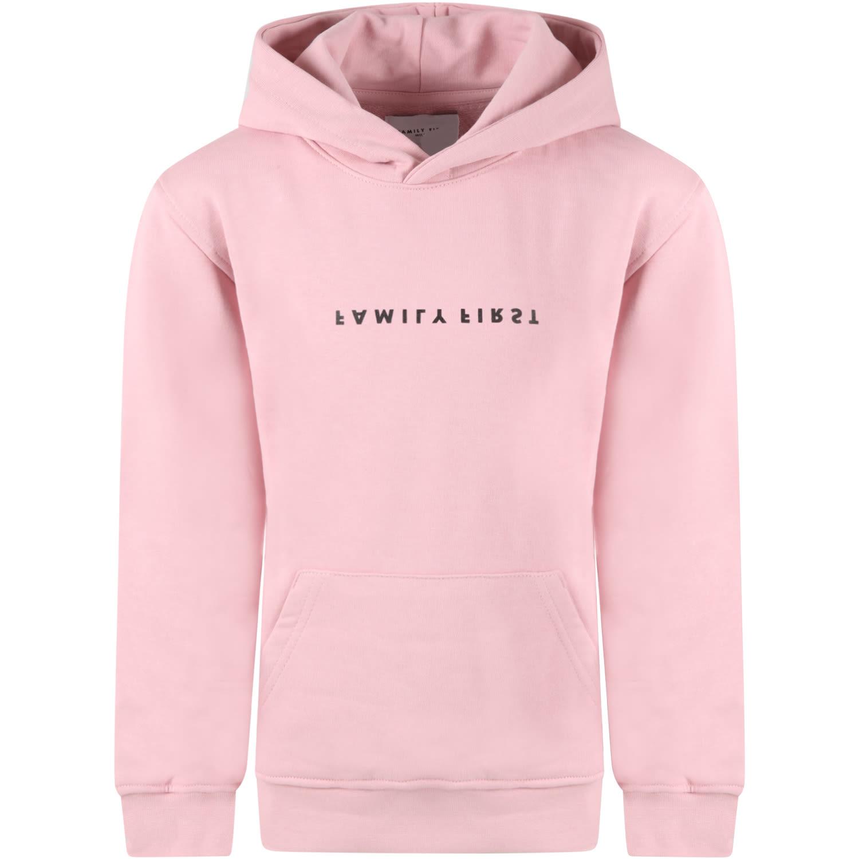 Pink Sweatshirt For Girl With Logo