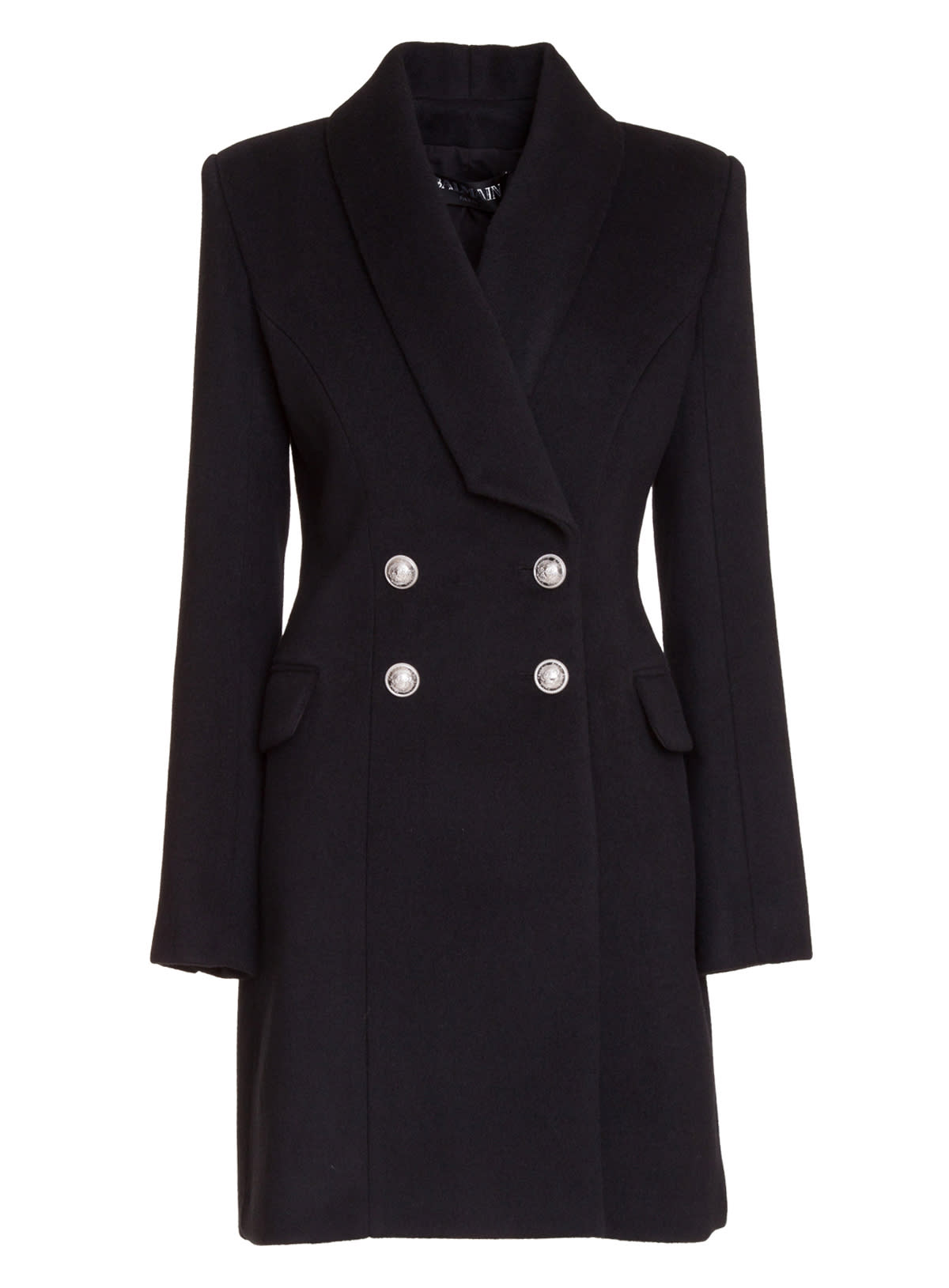 Balmain Black Double-breasted Wool Coat With Silver Buttons