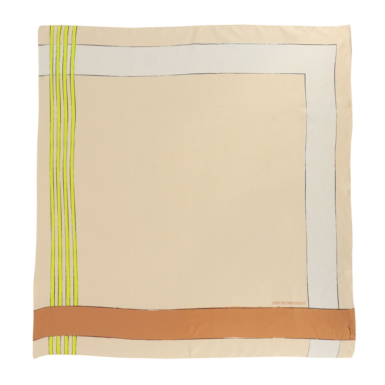 Emporio Armani Silk Scarf With Geometric Print In Nude