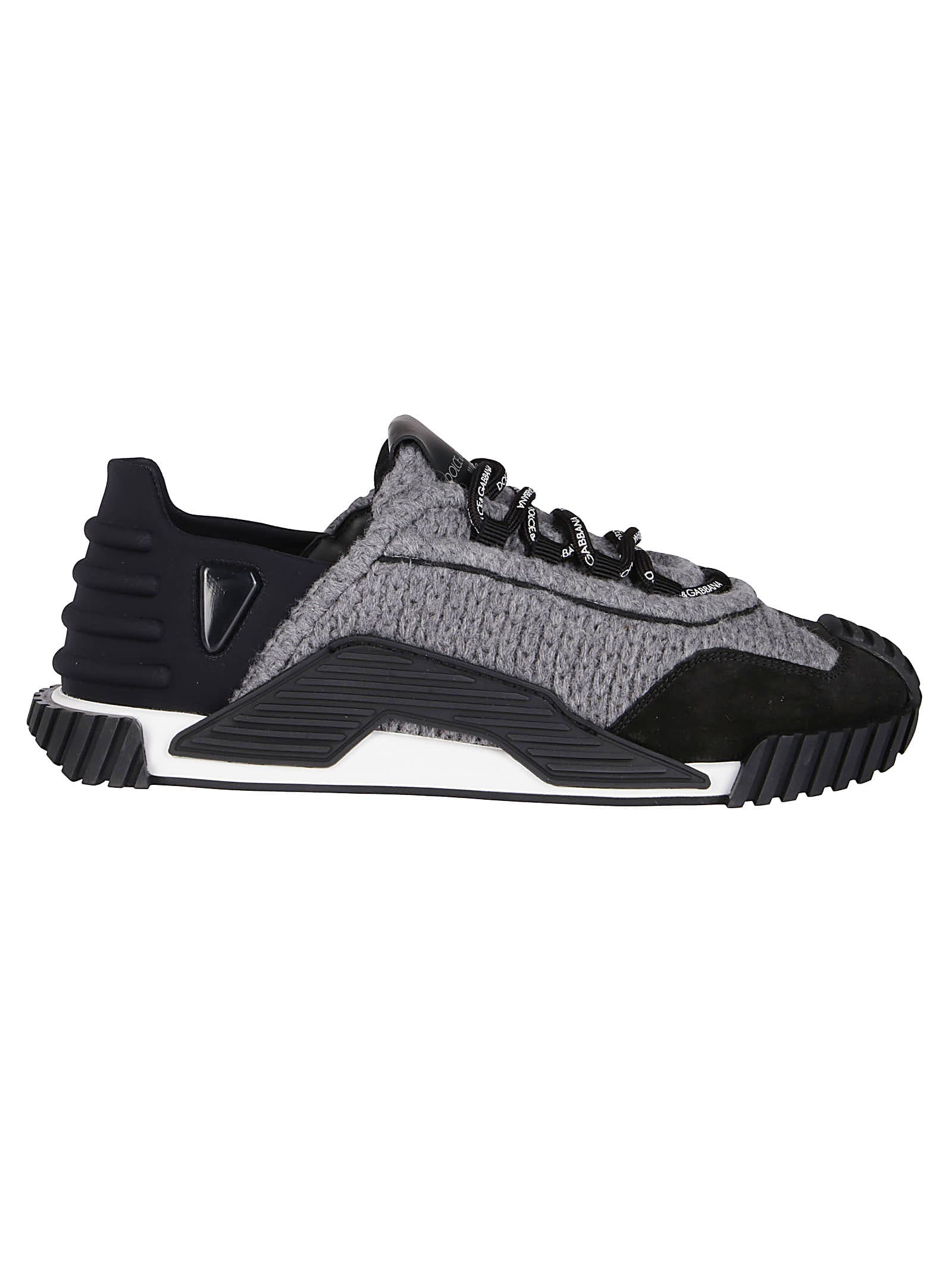 DOLCE & GABBANA BLACK LEATHER AND GREY KNITTED SNEAKERS