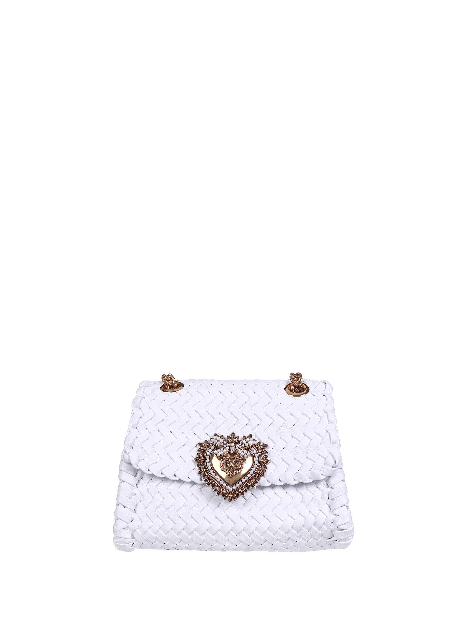 Dolce & Gabbana Devotion Woven Leather Crossbody Bag In White
