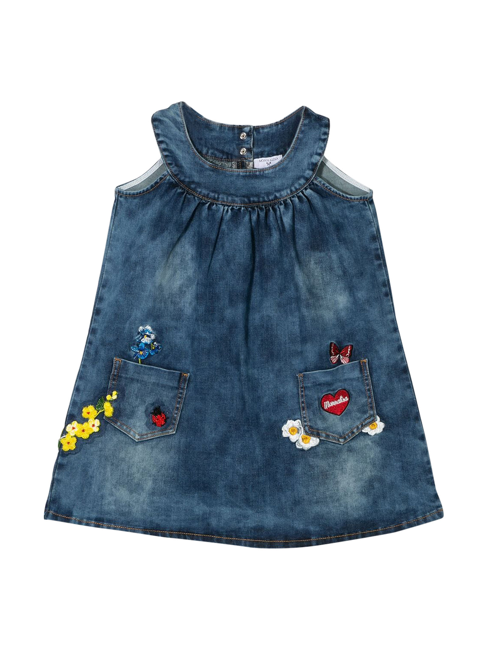 Buy Monnalisa Blue Denim Dress online, shop Monnalisa with free shipping
