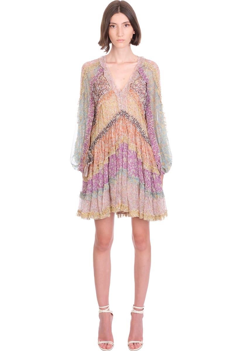 Zimmermann Carnaby Frill Dress In Rose-pink Silk