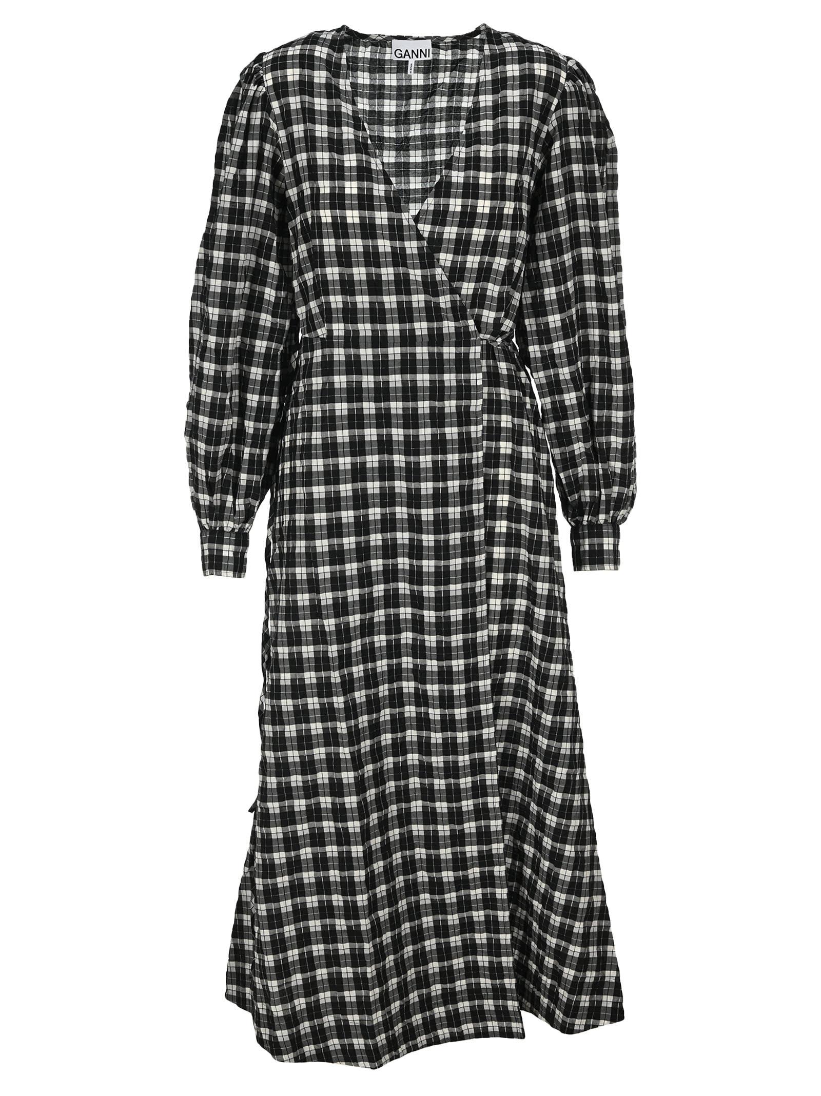 Buy Ganni Check Print Maxi Dress online, shop Ganni with free shipping