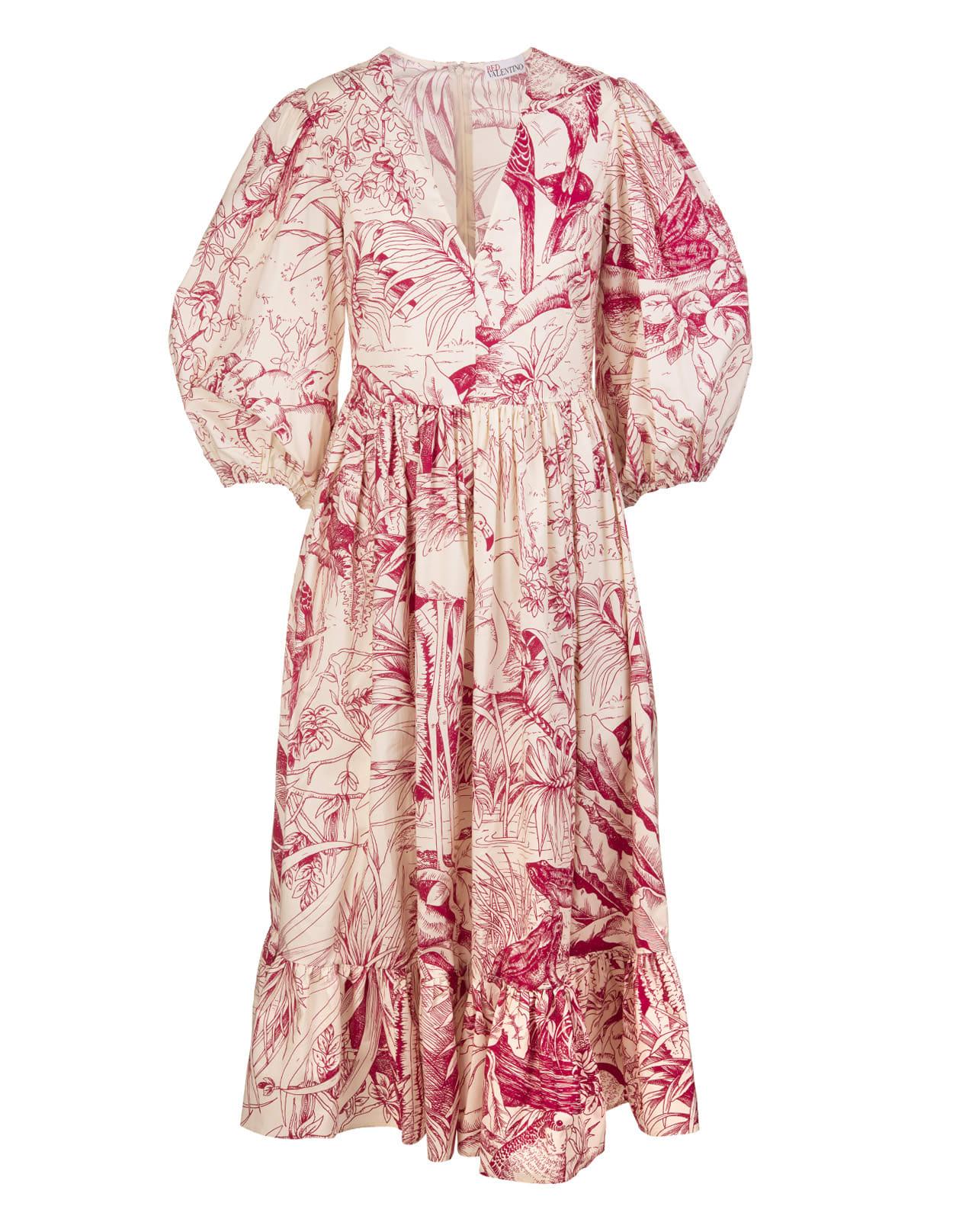 RED Valentino Ivory/red Jungle Pattern Midi Dress
