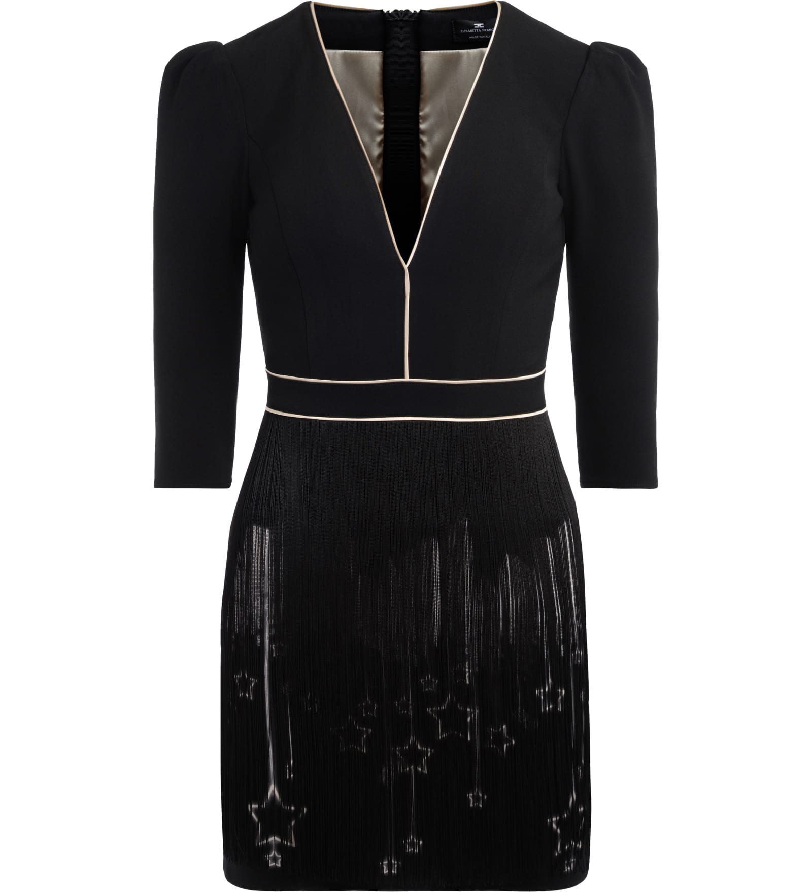Elisabetta Franchi Black Dress With Contrasting Ivory Profiles