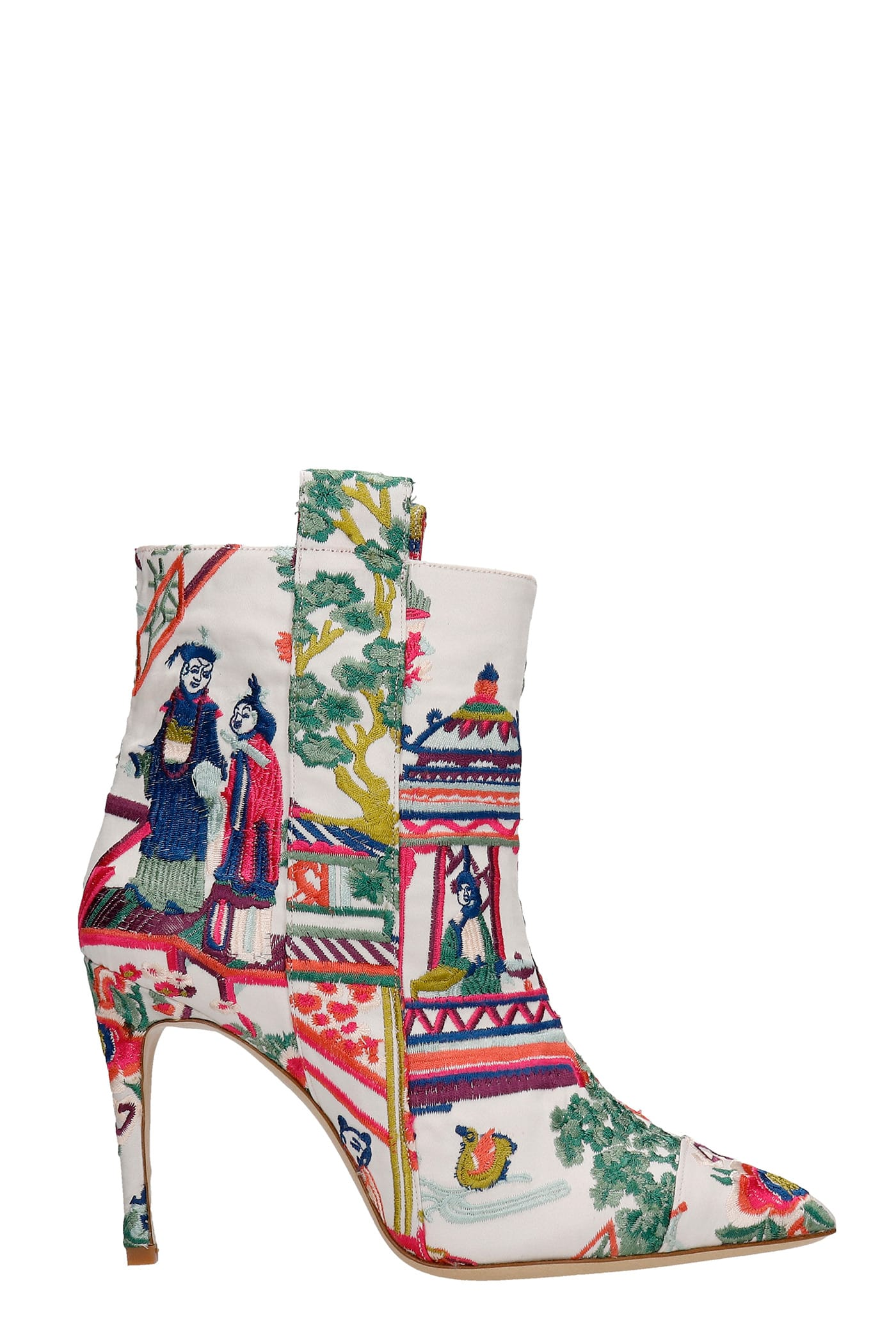 High Heels Ankle Boots In White Synthetic Fibers