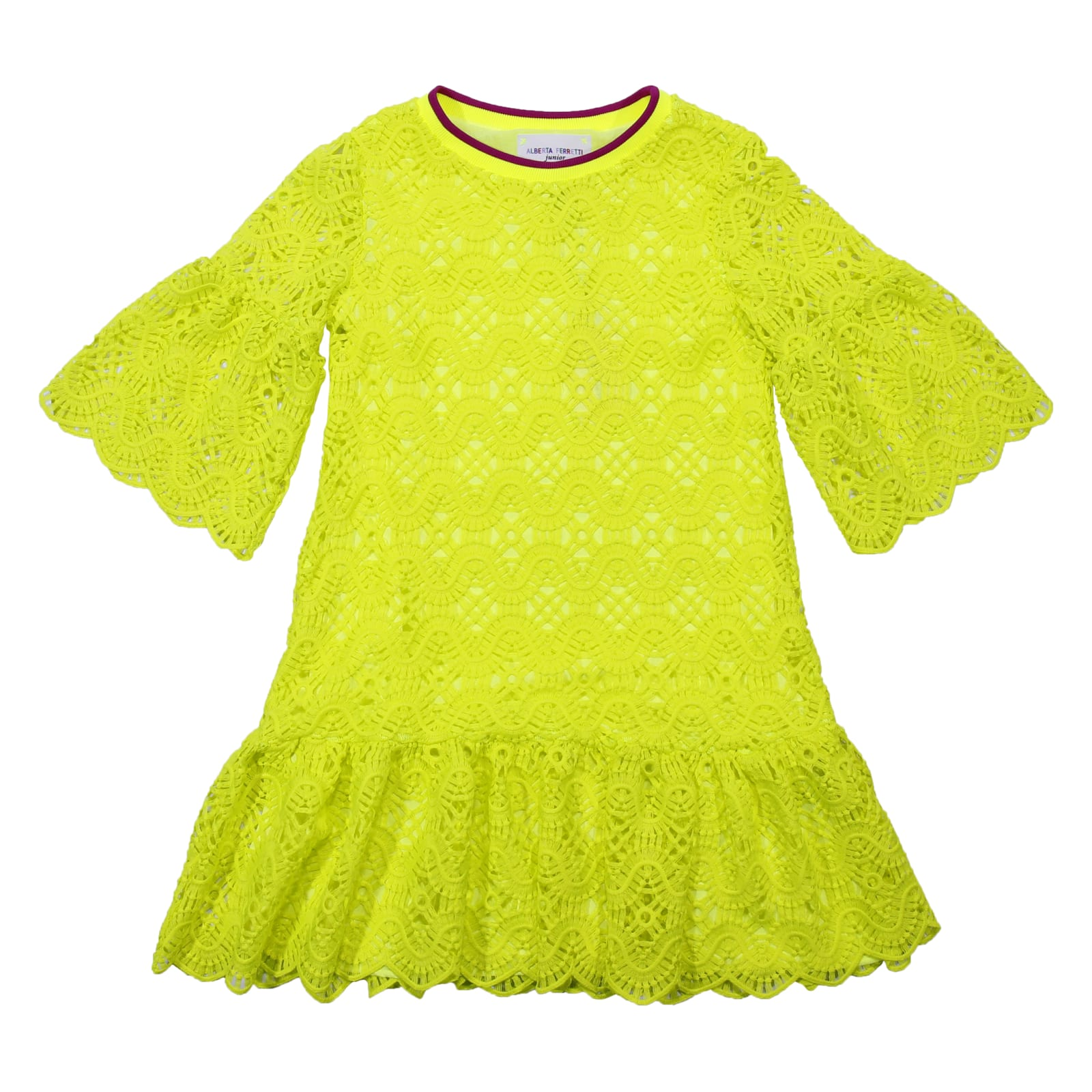 Alberta Ferretti Fluo Yellow Broderie Anglaise Dress