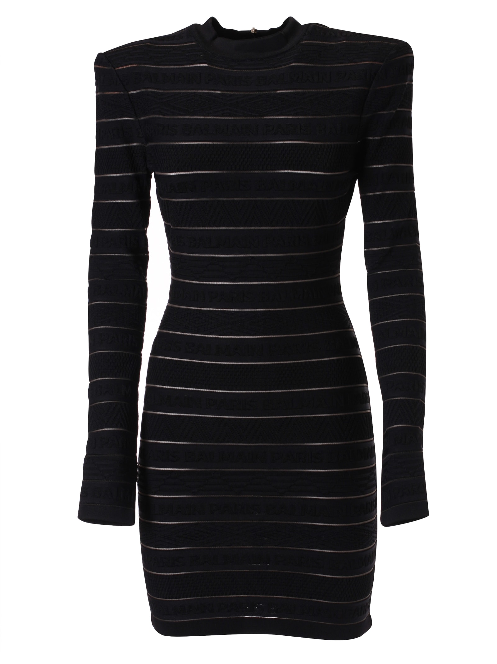 Buy Balmain Rear Zip Striped Fitted Dress online, shop Balmain with free shipping