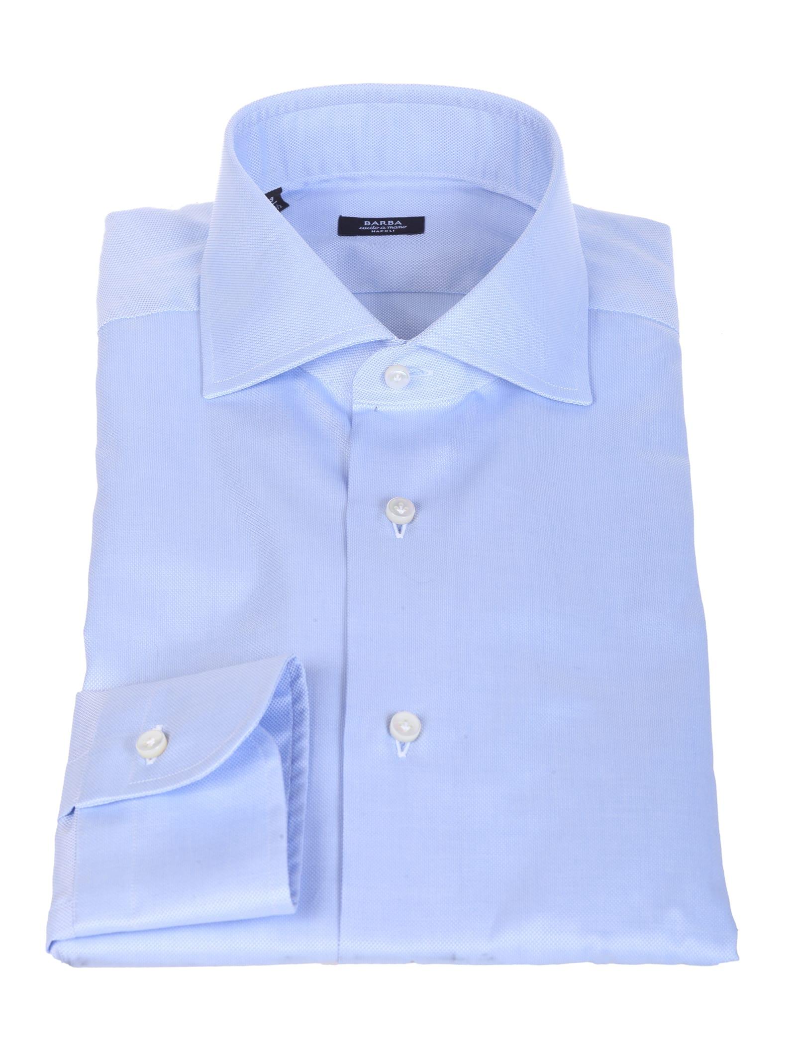 Barba light blue cotton shirt