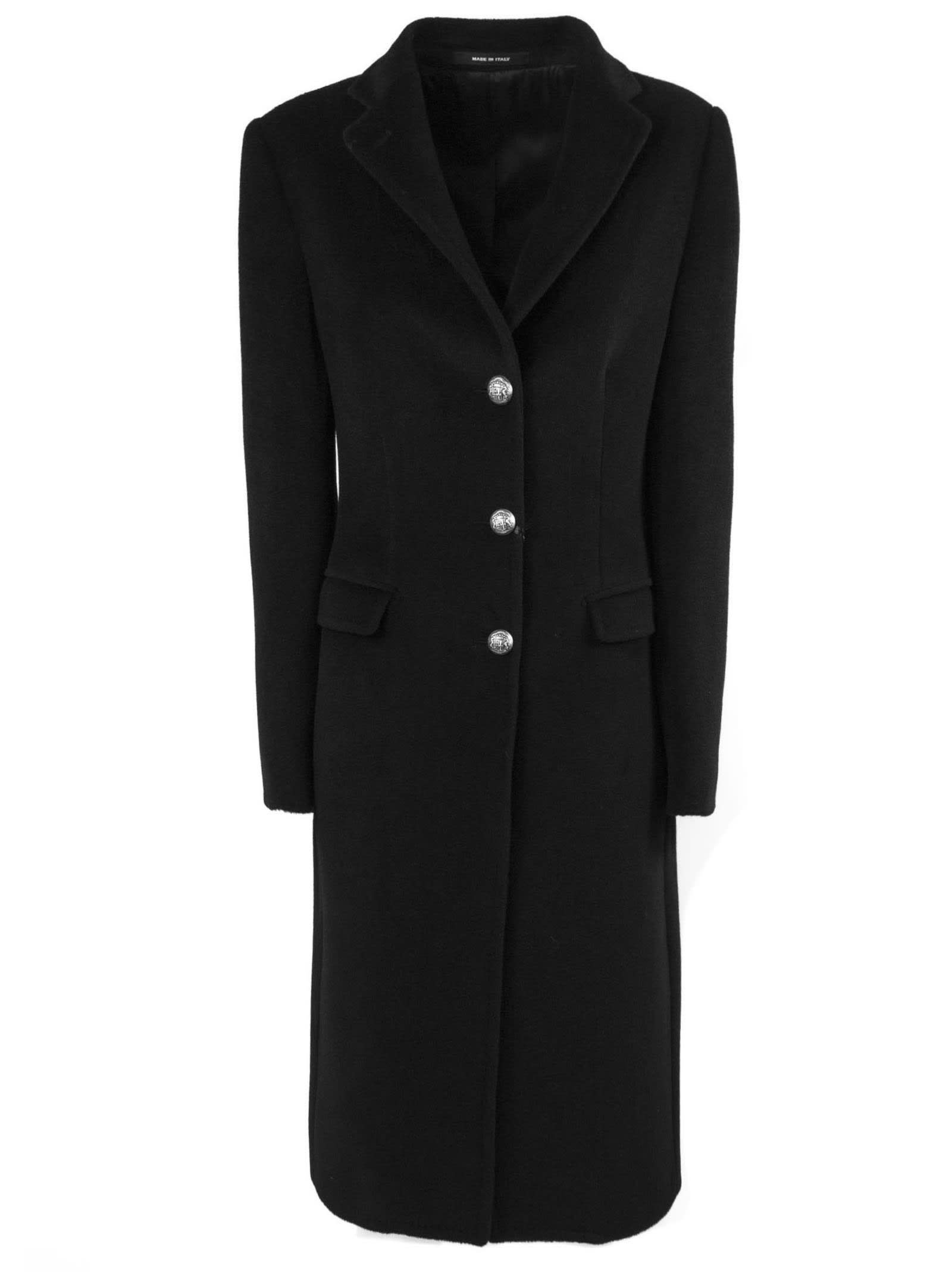 Tagliatore Black Wool Blend Coat