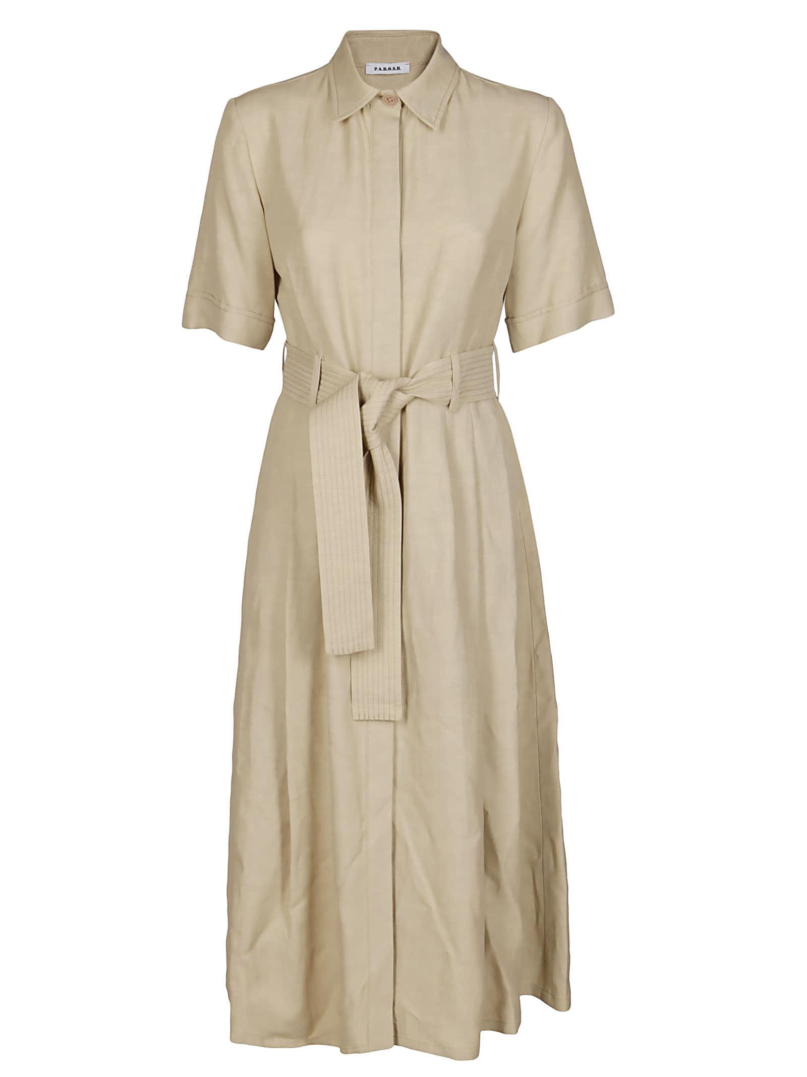 Buy Beige Viscose-linen Blend Dress online, shop Parosh with free shipping