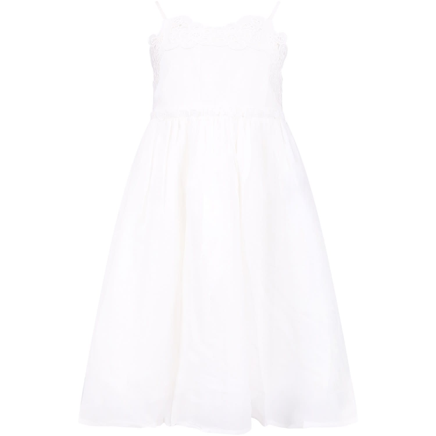 Stella McCartney Kids White Girl Dress With Embroidery