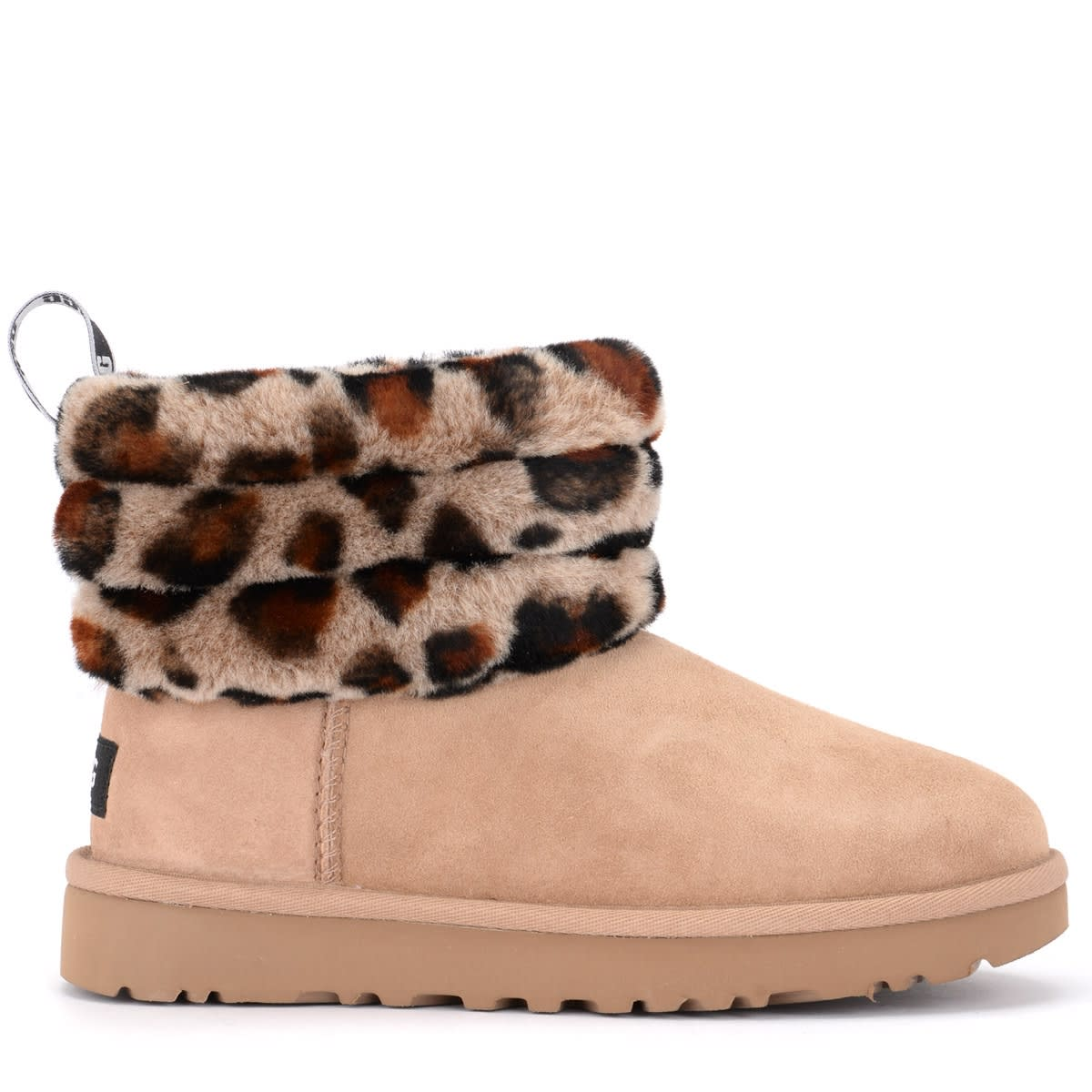 Ugg Fluff Mini Quilted Ankle Boot In Beige Sheepskin And Leopard Print Collar
