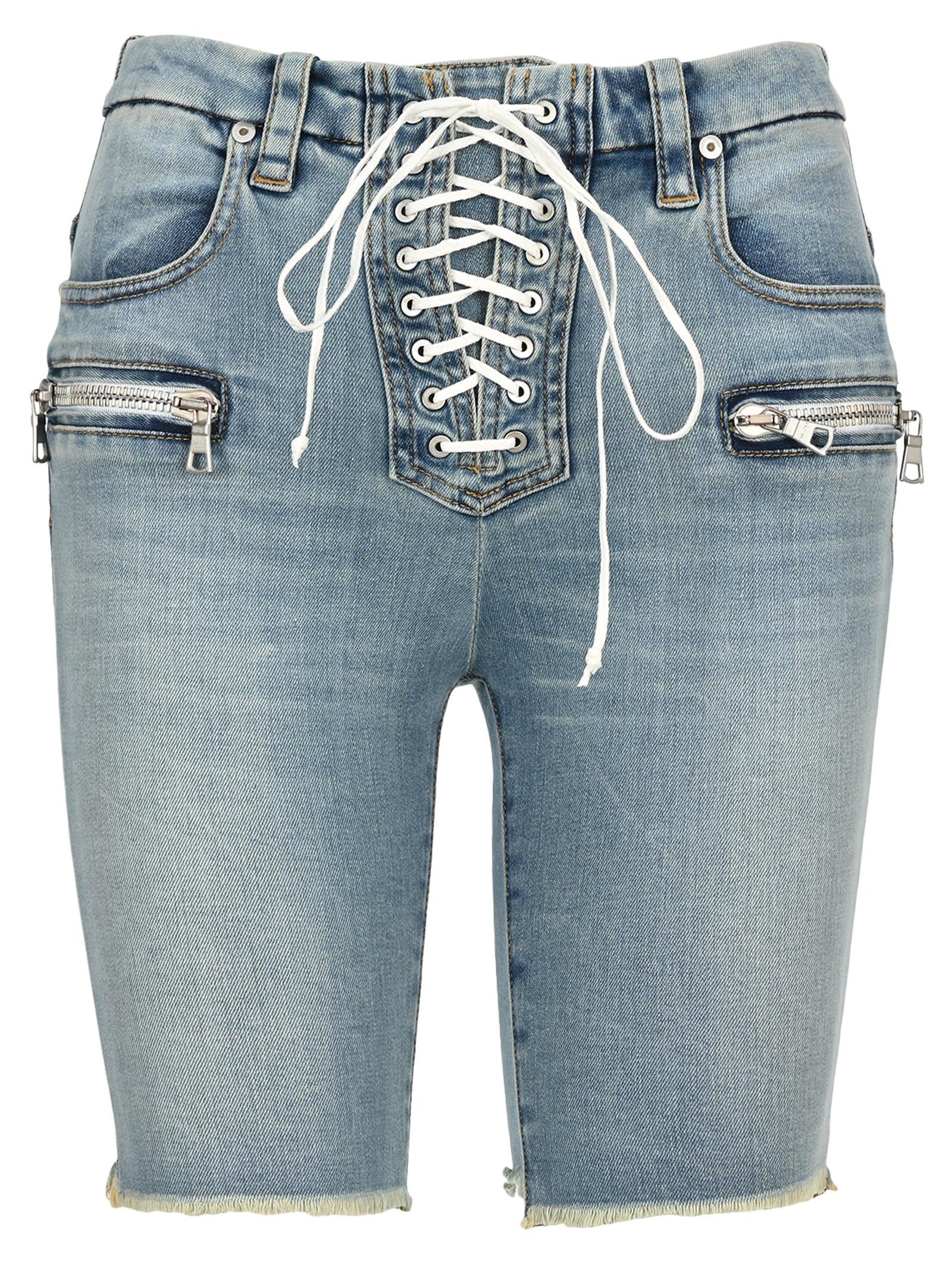 Unravel Lace-up Denim Shorts