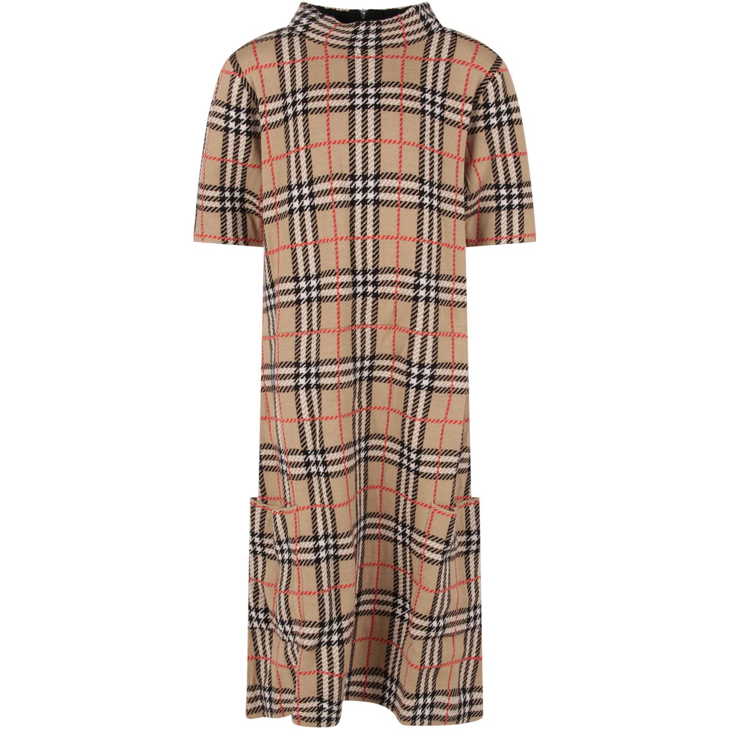 Burberry Beige Girl Dress With Vintage Check