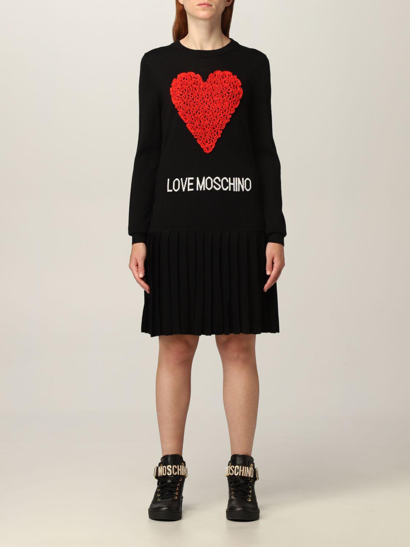 Love Moschino Dress Heart Logo Jacquard Sweater