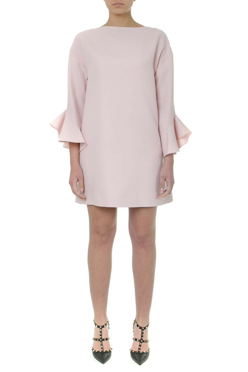 Valentino Light Pink Wool Ruffled Short Dress