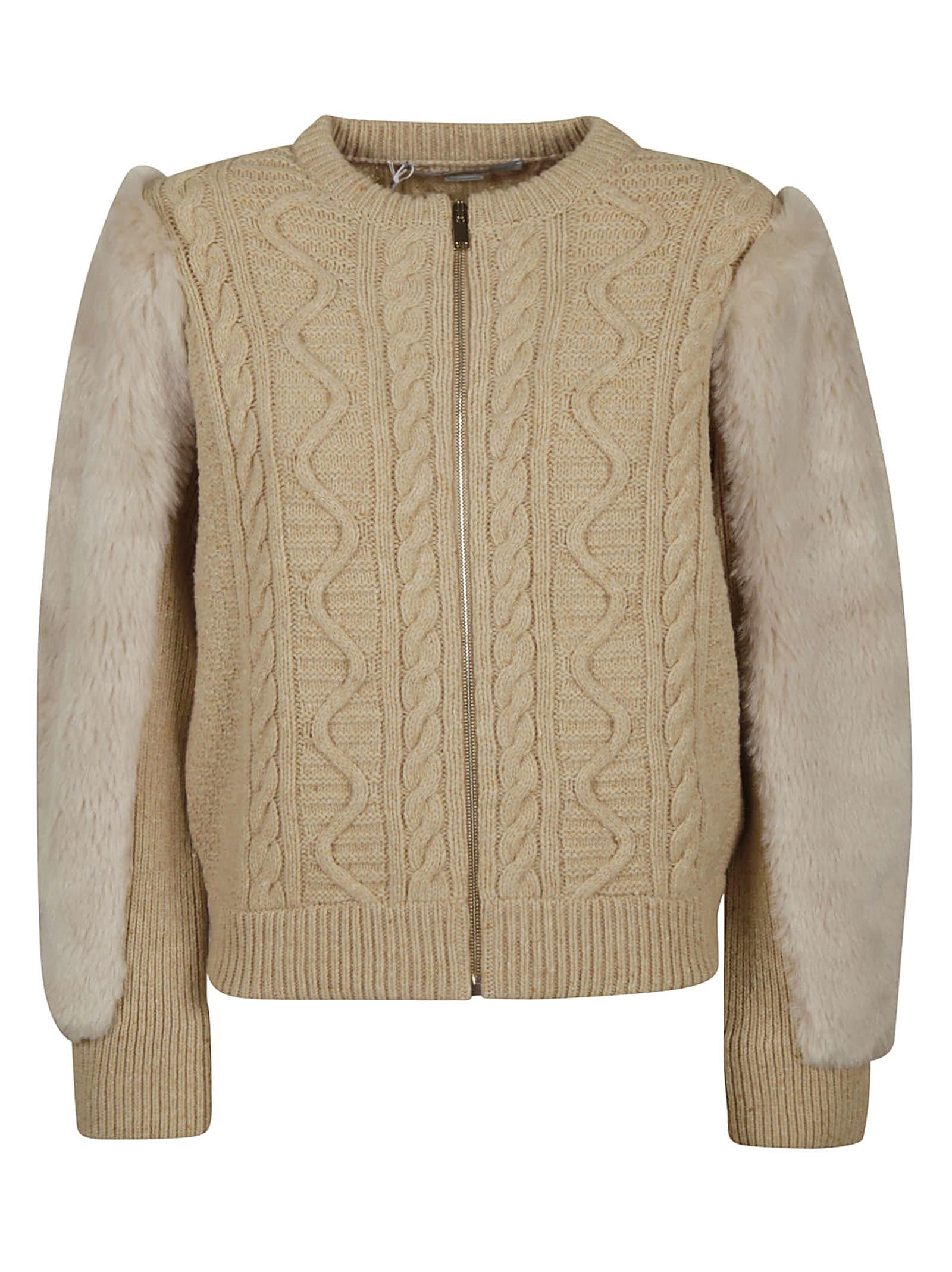 Stella McCartney Fur Applique Zipped Woven Jacket
