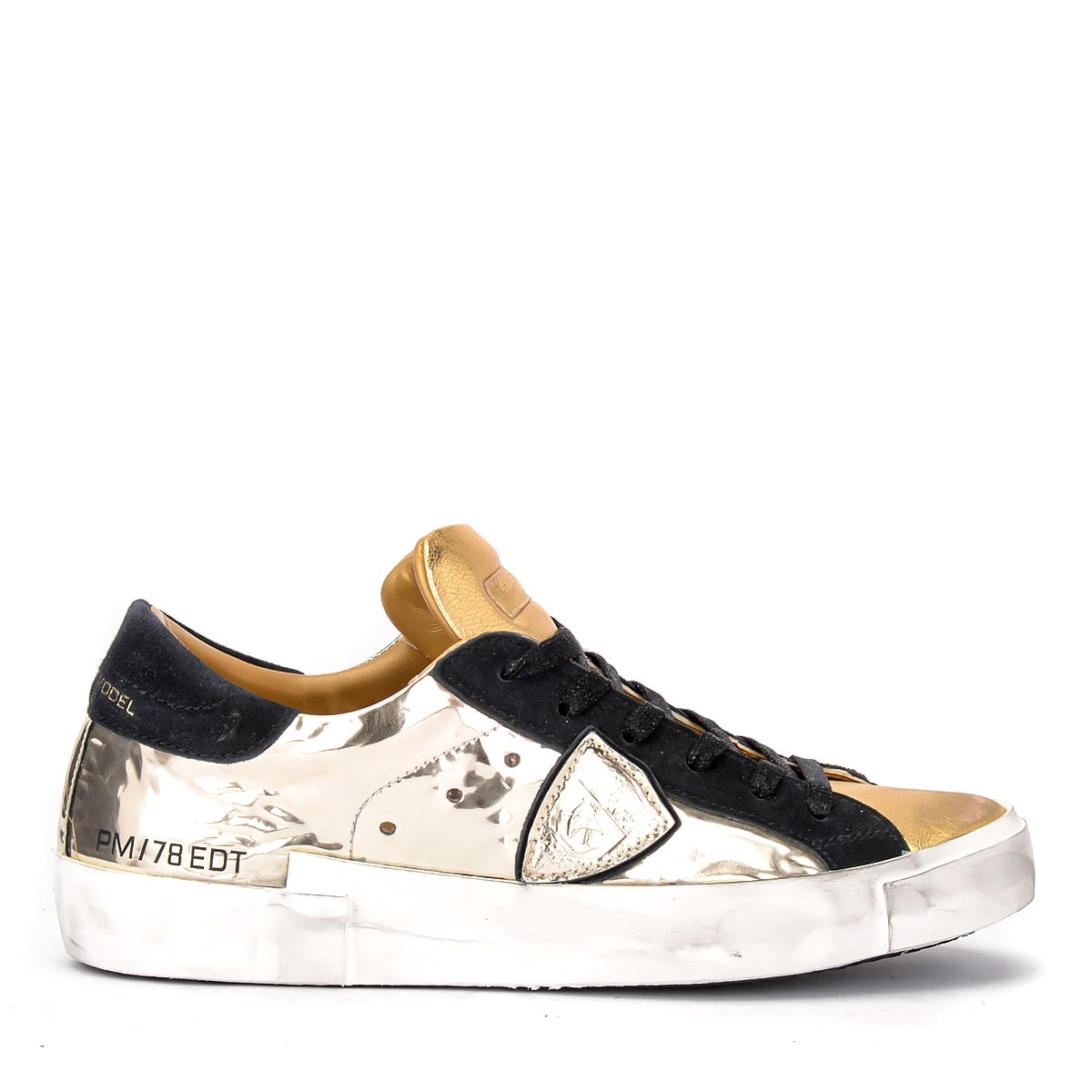 Philippe Model Sneaker Paris X Model In Gold Leather And Black Suede. Mirrored Details.