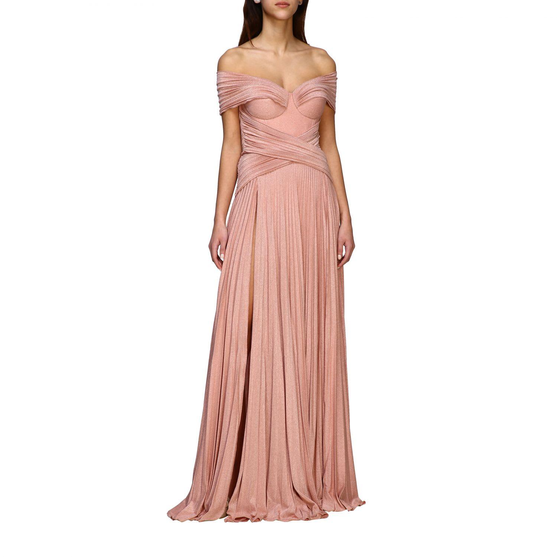 Elisabetta Franchi Celyn B. Elisabetta Franchi Dress Elisabetta Franchi Long Dress In Lurex Fabric With Drapery In Pink