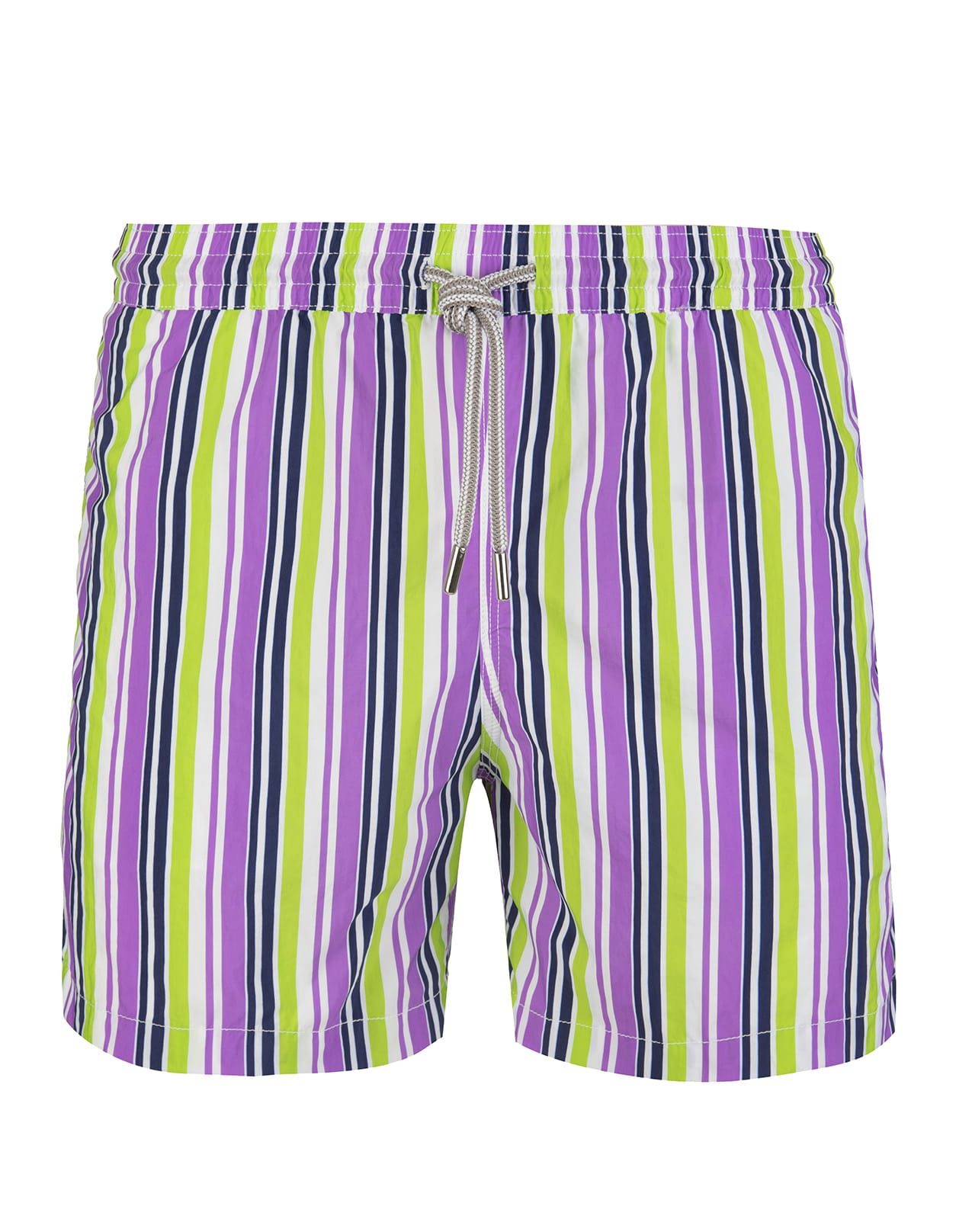 Purple And Light Green Striped Swimsuit