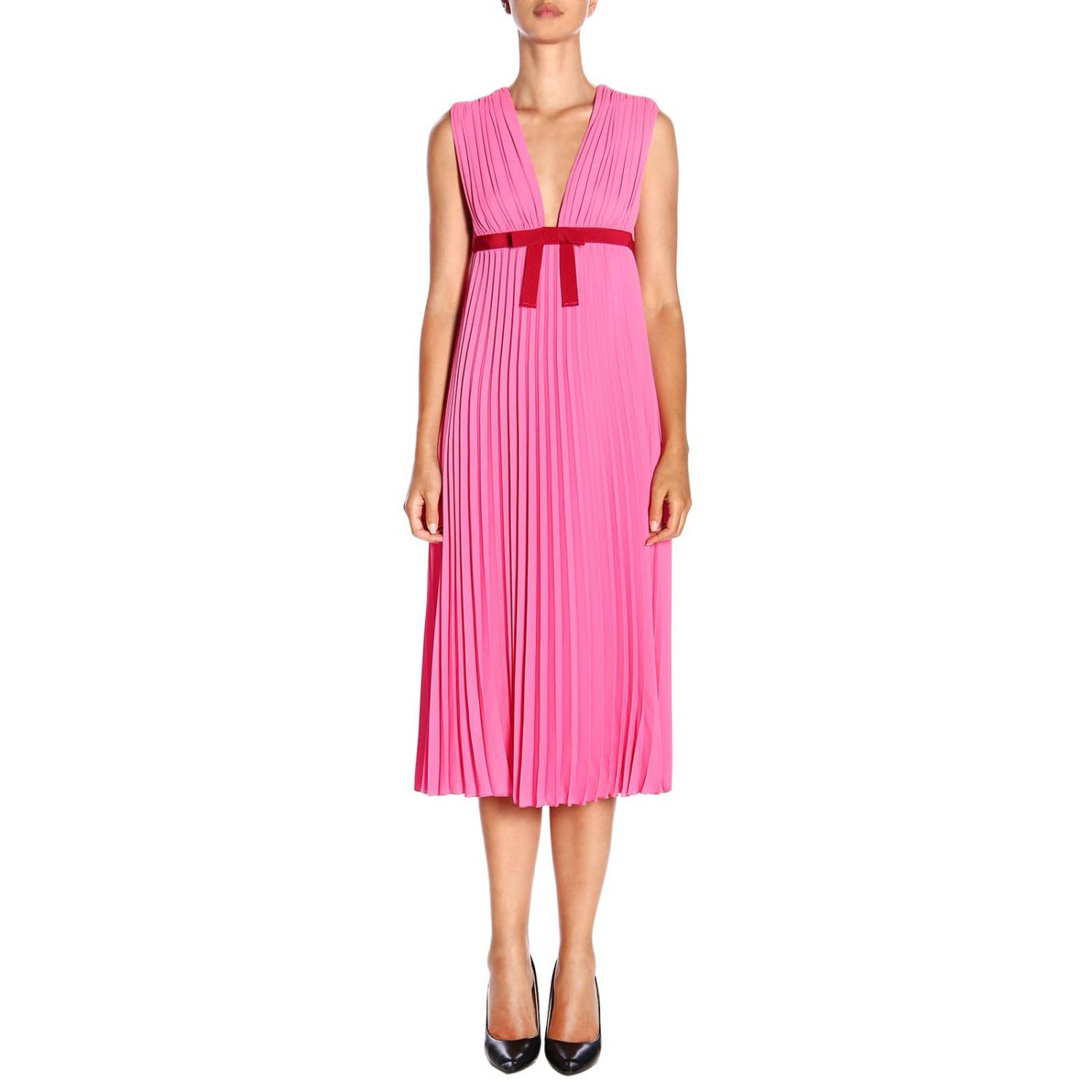 Buy Red Valentino Dress Red Valentino Maxi Dress In Pleated Fabric With Contrasting Bow online, shop RED Valentino with free shipping
