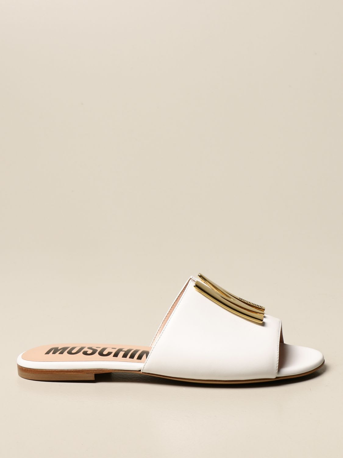 Moschino Couture Flat Sandals Moschino Couture Flat Sandal In Leather With Logo